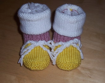 Knit Baby Booties - Baby Boot Booties - 12 Months