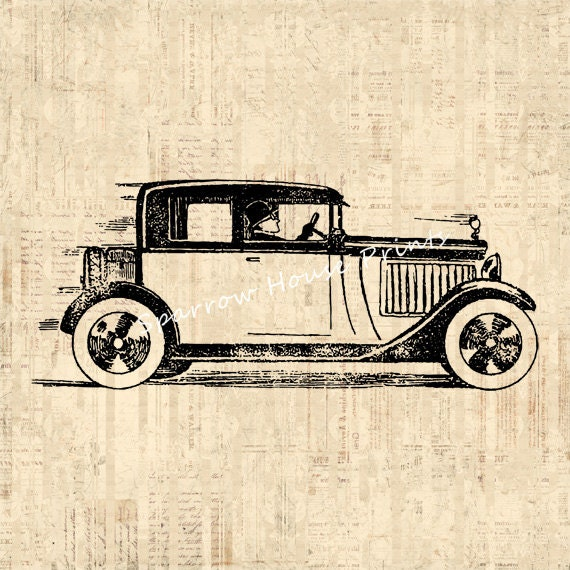 Vintage Auto Wall Decor : Automobile and driver print antique wall art old car home