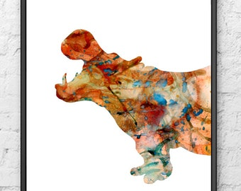 Hippo Watercolor Painting Art Print - Animal Art - Home Wall decor - 178