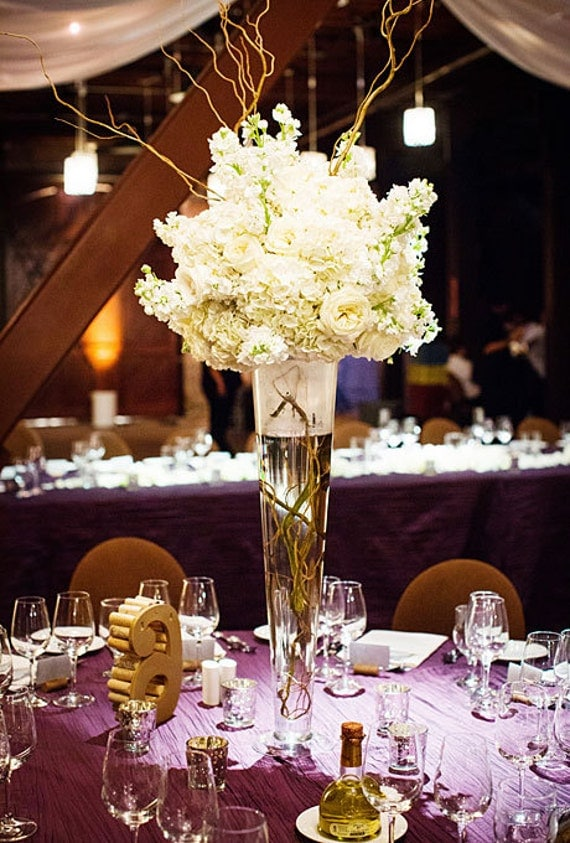 Clear trumpet glass vase wedding centerpiece by partyspin