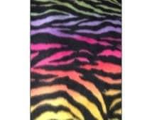 Zebra Rainbow Fleece Fabric By The Yard