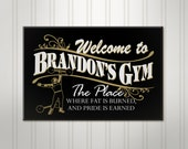 """Large Personalized Gym Sign, Workout Room, ManCave Weightlifter Sign, Personalized Sign, Personalized Pub Sign, 18"""" x 24"""""""