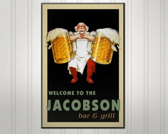 "Large Personalized Barkeep Beer Sign, Man Cave Bar Sign, Pub Sign, 18"" x 24"""