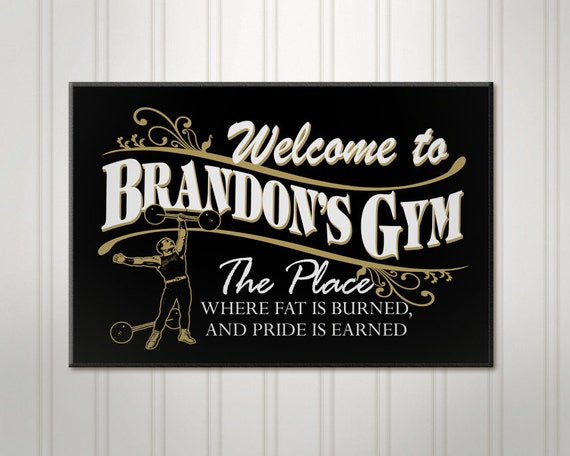Personalized gym sign workout room
