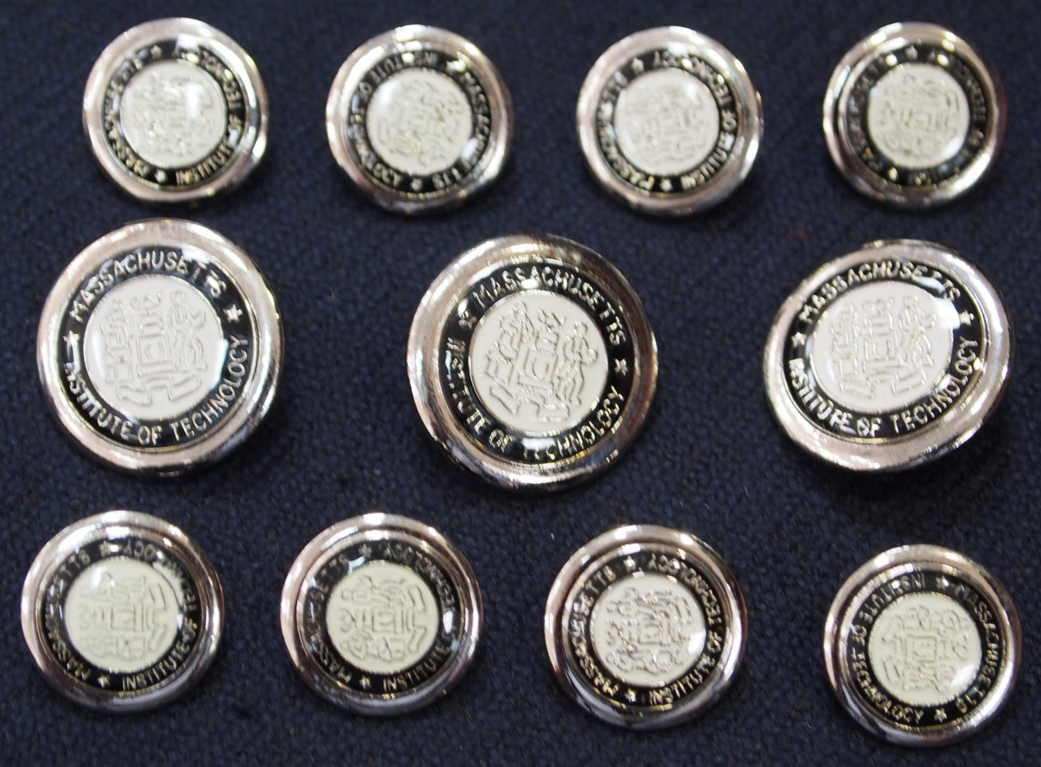 Silver Metal MIT Blazer Buttons Set for suit jacket, blazer, or ...