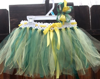 Oregon Ducks Tutu with Hair Bow, Green and Yellow tutu, Team tutu, - Made to Order