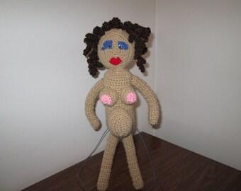 Pregnant Oaak Doll, shower gift, gag gift for pregnant mom, crochet pregnant doll, pregnant art doll, new mom gift, baby shower gag gift