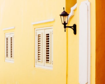 Golden Wall with Windows and Shutters, Lantern, Willemstad, Curacao, Caribbean, Fine Art Photograph for Your Home and Office Wall Decor