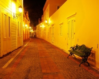 Evening Path, Cobblestone Island Alley at Night, Willemstad, Curacao, Caribbean, Fine Art Photograph for Your Home and Office Wall Decor