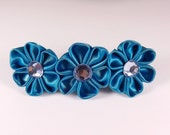 Blue silk fabric kanzashi flowers hair barrette for girls and women