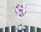 Hand Painted Wine Glass Purple Butterflies Pink Hand Painted Glassware Stemware Hand Painted Wine Glasses Custom Wine Glasses Painted Glass