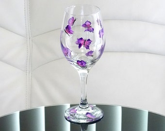 Hand Painted Wine Glass Purple Butterflies Pink Hand Painted Glassware Stemware Hand Painted Wine Glasses Custom Wine Glasses Painted Glass