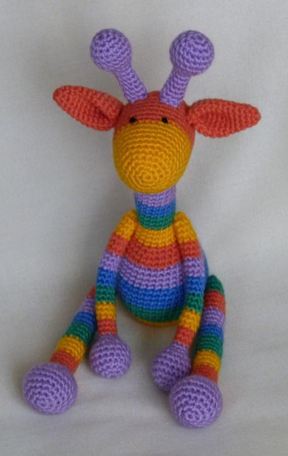 Crochet Toys For Boys : Rainbow giraffe amigurumi crochet toy baby by joytoysbytatiana