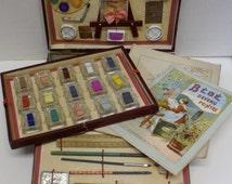 Antique Victorian Watercolor Painting Drawing Artist Box Set. A. Capendu, Editeur, Paris.
