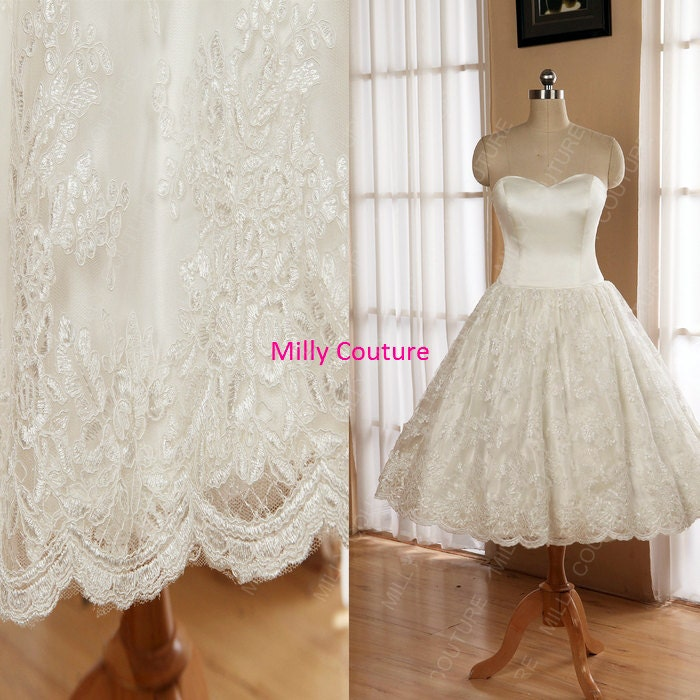 Strapless lace wedding dress full circle skirt by millycouture for Circle skirt wedding dress
