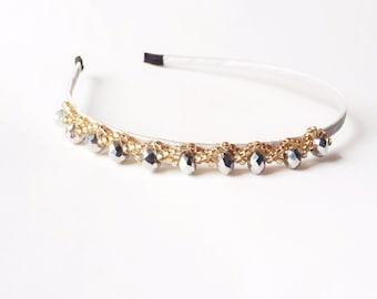 CLEARANCE - Silver Aria Beaded Headband - Wedding headband - Cocktail headband - Silver headband - Hair accessories - Beaded headband