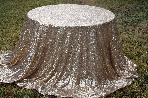 Free Shipping Champagne Gold Sequin Metallic Tablecloth