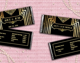 Great Gatsby Art Deco Candy Bar Wrappers - Digital File - EDITABLE text - DOWNLOAD Instantly
