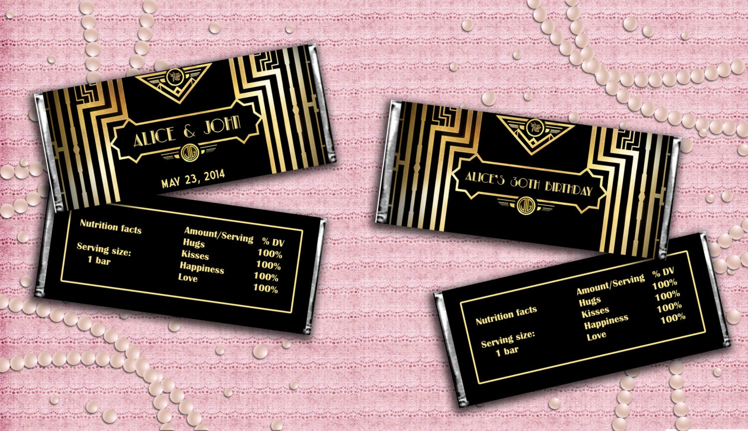 great gatsby art deco candy bar wrappers digital by studiodmd. Black Bedroom Furniture Sets. Home Design Ideas