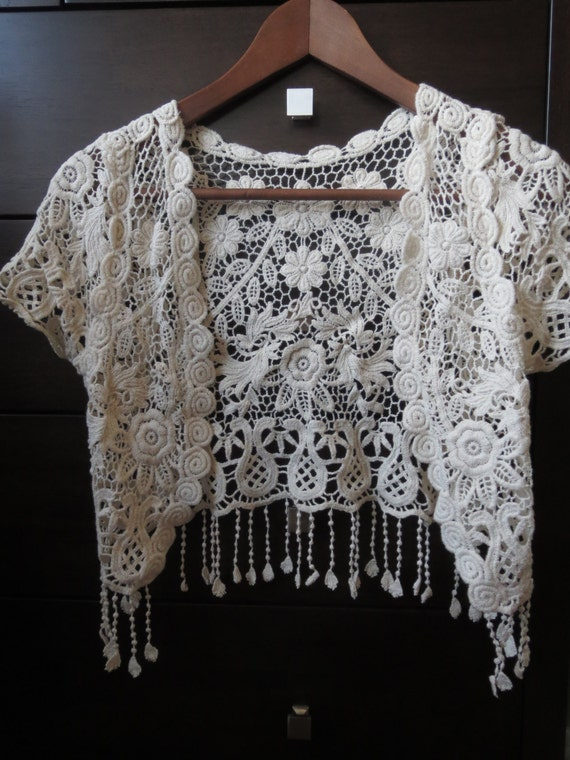 Crochet Lace Shawl Open Style Cardigan With Tassels One Size