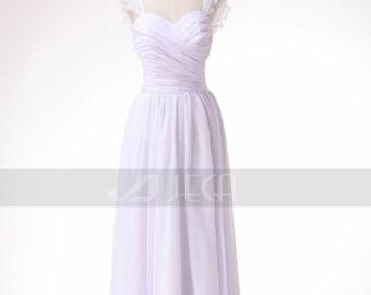 Chic & Simple Frilled Cap Sleeves Beach Wedding Dress Causal Wedding Dress W897