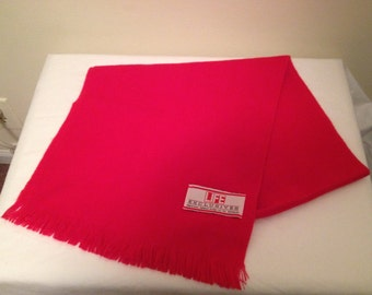 VTG 60s Life Magazine Bright Red Acrylic soft winter scarf 12 x 48