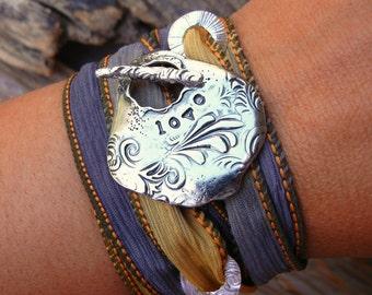 LOVE Jewelry, STERLING SILVER Love Jewelry, Love Bracelet, Love Silk Wrap Bracelet, Silk Wrap Bracelet, Silver Love Wrap Bracelet, Love