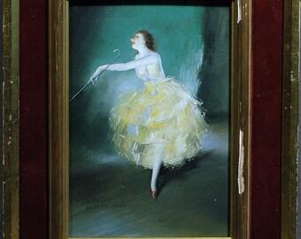 Delightful Painting signed Everet Shinn of a Vaudeville Dancer