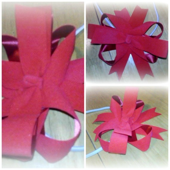 Large Red Velvet Bow on white elastic headband