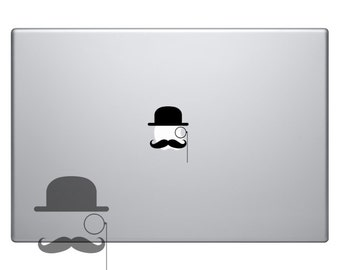 Mustache With A Hat and Monocle Vinyl Sticker Laptop Macbook Mac Air Apple