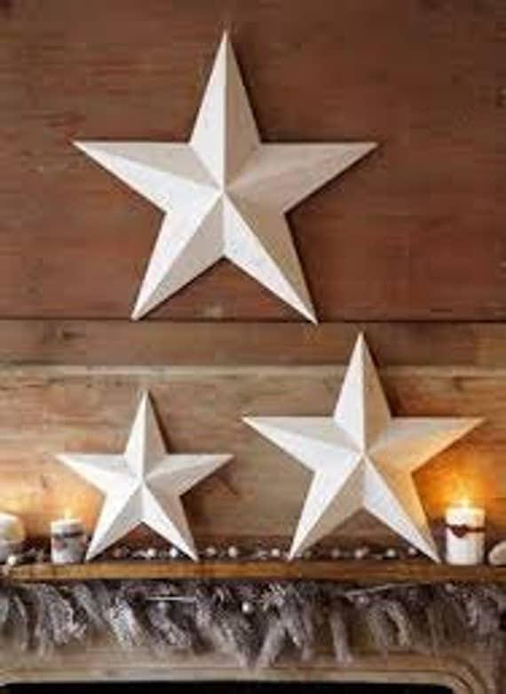 Set Of 3 Large Metal Tin Barn Star Wall Decor 24