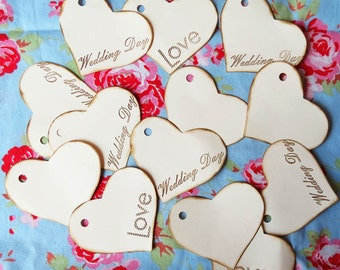 Packs of 20 .Vintage shabby chic HEARTS for weddings. 3 choices available.