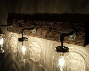 Barnwood Mason Jar Light Fixture