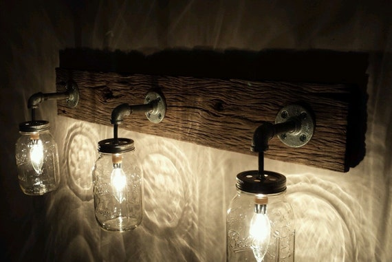 barnwood mason jar light fixture. Black Bedroom Furniture Sets. Home Design Ideas