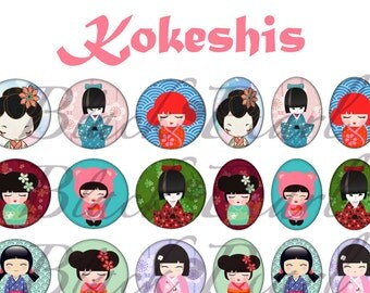 Kokeshis - Page of digital images for cabochons - 60 images