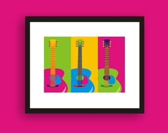 Guitars - POP ART  Original Print  by C Wiedenheft  comes matted and ready to frame