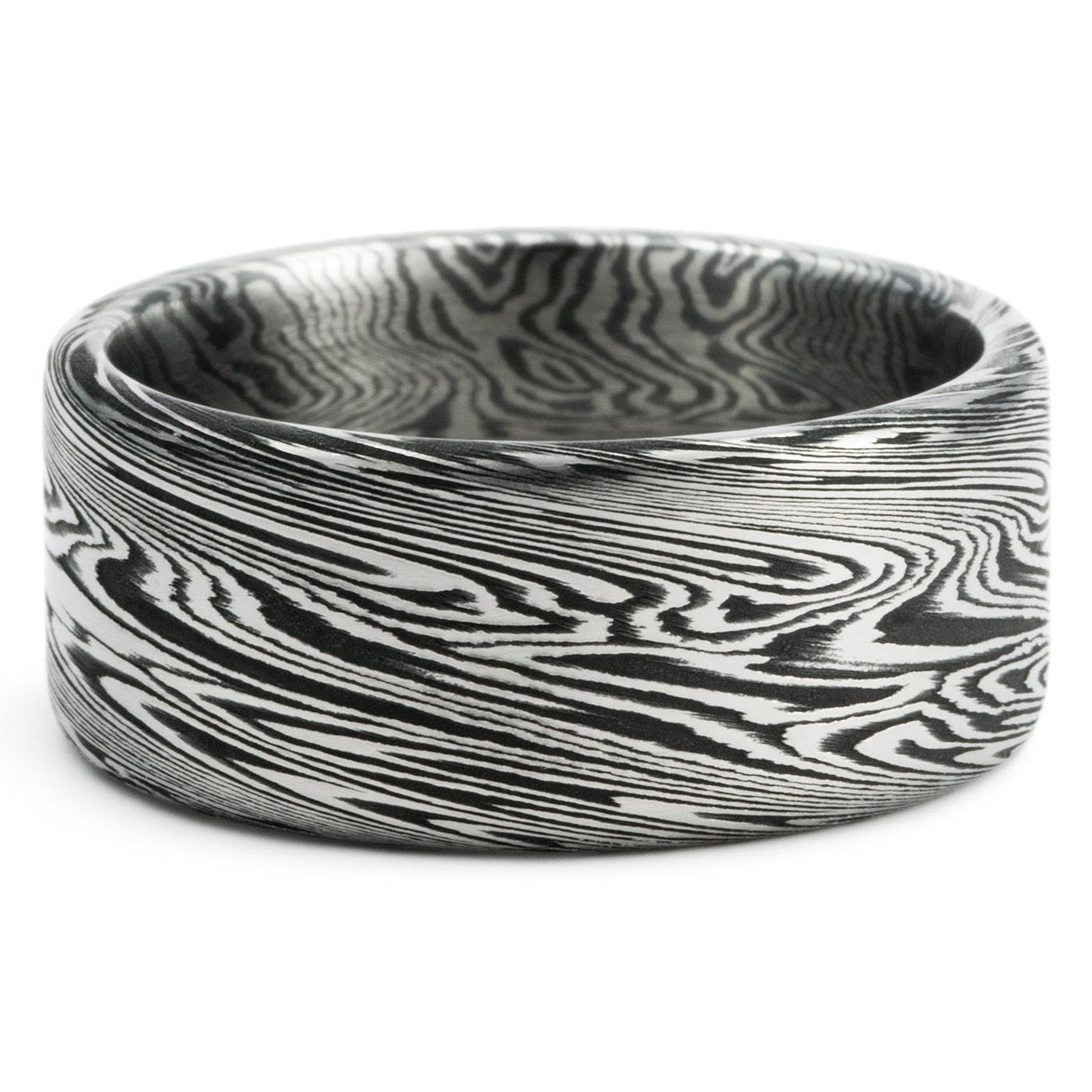 Titanium & Zirconium Wide Flat Men s Wedding Ring Black