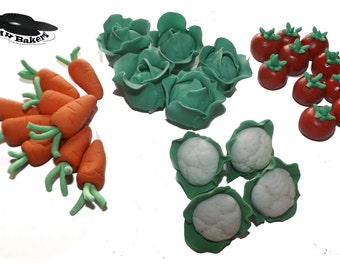 Sugar Vegetables 3D Cake Cupcake Edible Toppers Children Birthday