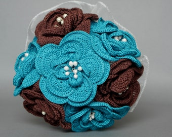 Wedding fabric bouquet - blue and brown flowers