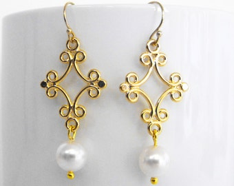 Gold Filigree Dangle Earrings Pearl Earrings Modern Sleek Elegant Design 14kt Gold Filled Earwires