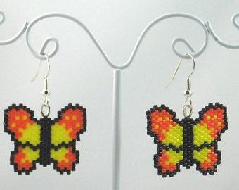 Beaded Butterfly in Yellow and Orange Earrings