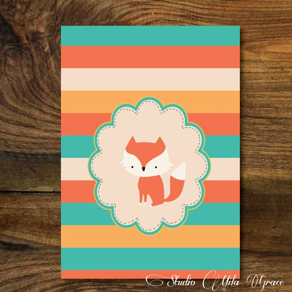 Items similar to baby fox wall art 8x10 baby shower for Baby shower wall mural