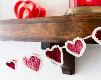 Valentine's Day Hearts Crochet Garland – White Border