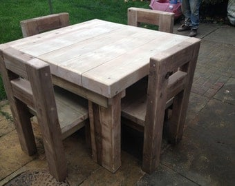 Solid Chunky Rustic Wood Dining Table And Four Chairs Caveman Furniture