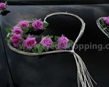 Wedding Car Decor Mauve Roses with Rattan Hearts Decoration Kit DEK1042 Limo