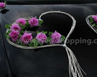 Wedding Car Decor Mauve Roses with Rattan Hearts Decoration Kit DEK1042 Limo