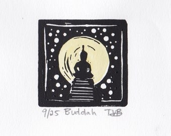 Buddha: Tiny Hand Pulled  Linoleum Block Print
