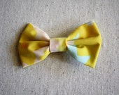 Hair Bow Barrette/Clip: Yellow and Blue 1960s Floral Fabric