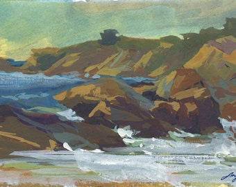Laguna Beach, California Plein Air Gouache Painting Archival Print