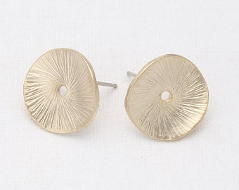 Leaf Earring Post Matte Gold -Plated - 2 Pieces [AA0014-MG]